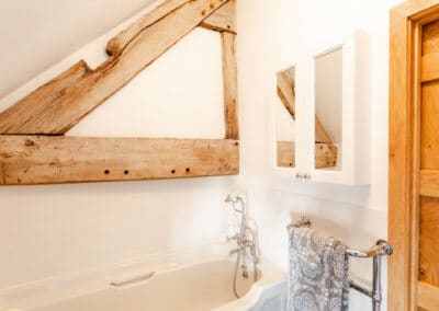 Beams in the bathroom