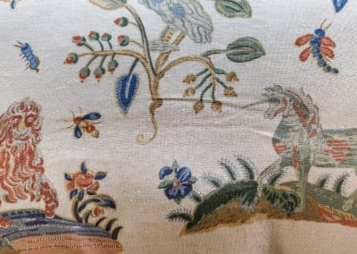 Tudor design linen fabric